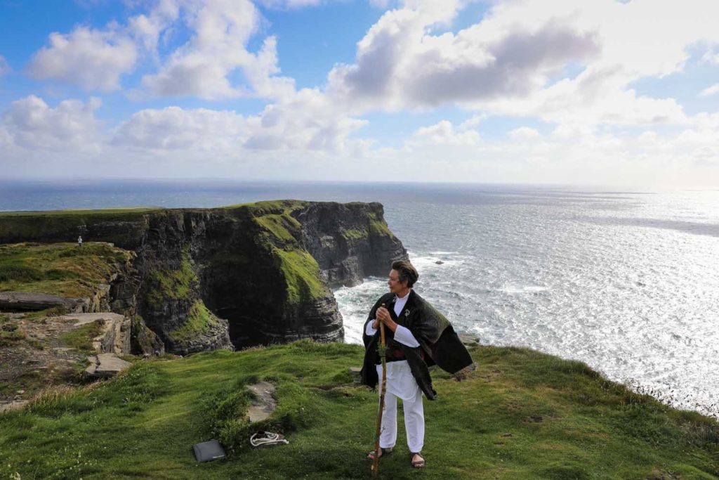 Wedding celebrant photographed at the Cliffs of Moher