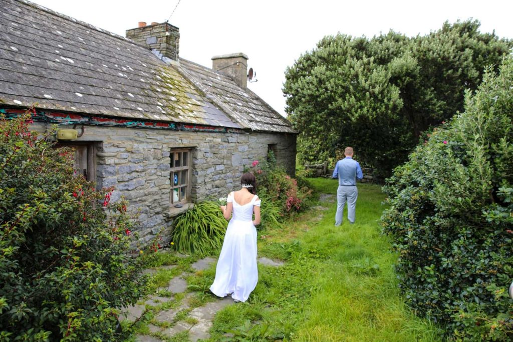 Bride and Groom's first look at a cottage in Co. Clare