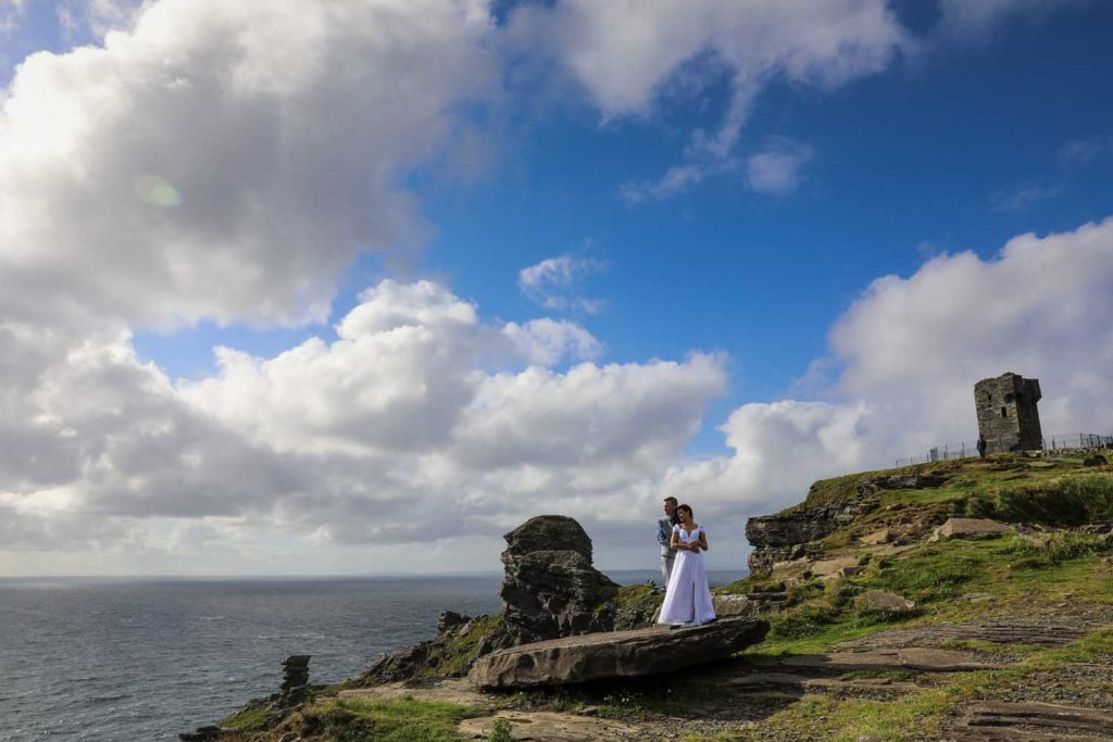 Newly married couple at Moher Tower, Co. Clare, Ireland