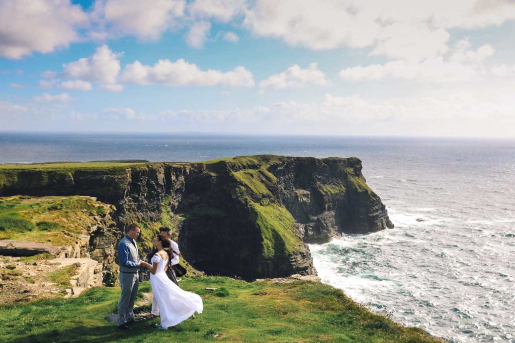 Couple exchanging vows at Hag's Head, Co. Clare