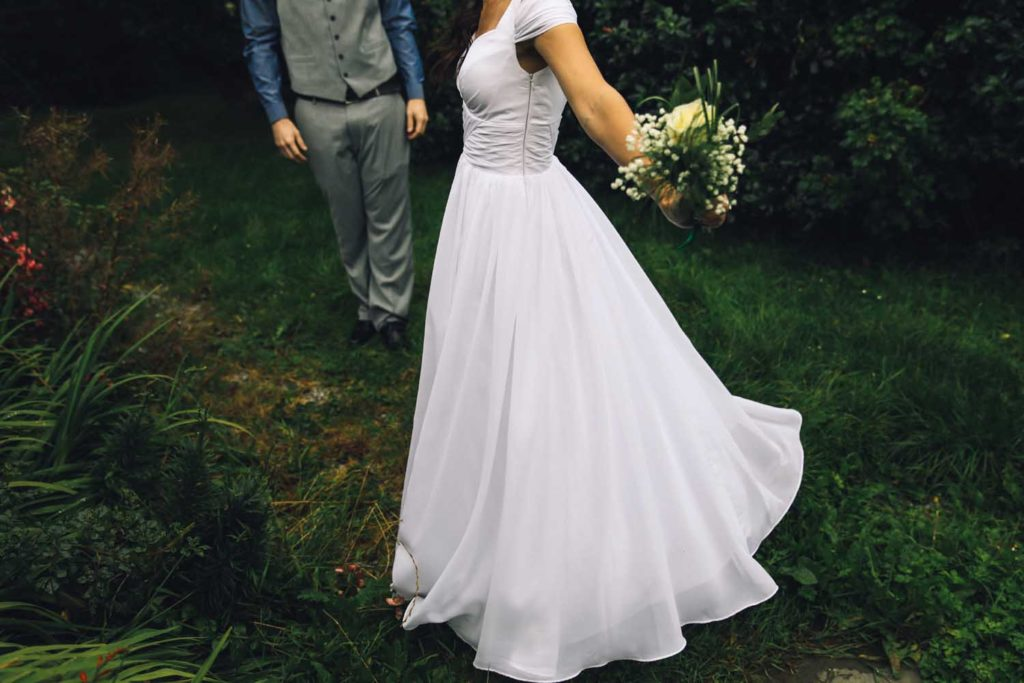 Detailed photo of a bride's wedding dress