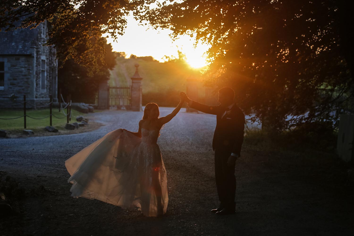 Bride and groom together at sunset at Castle Leslie, Co. Monaghan