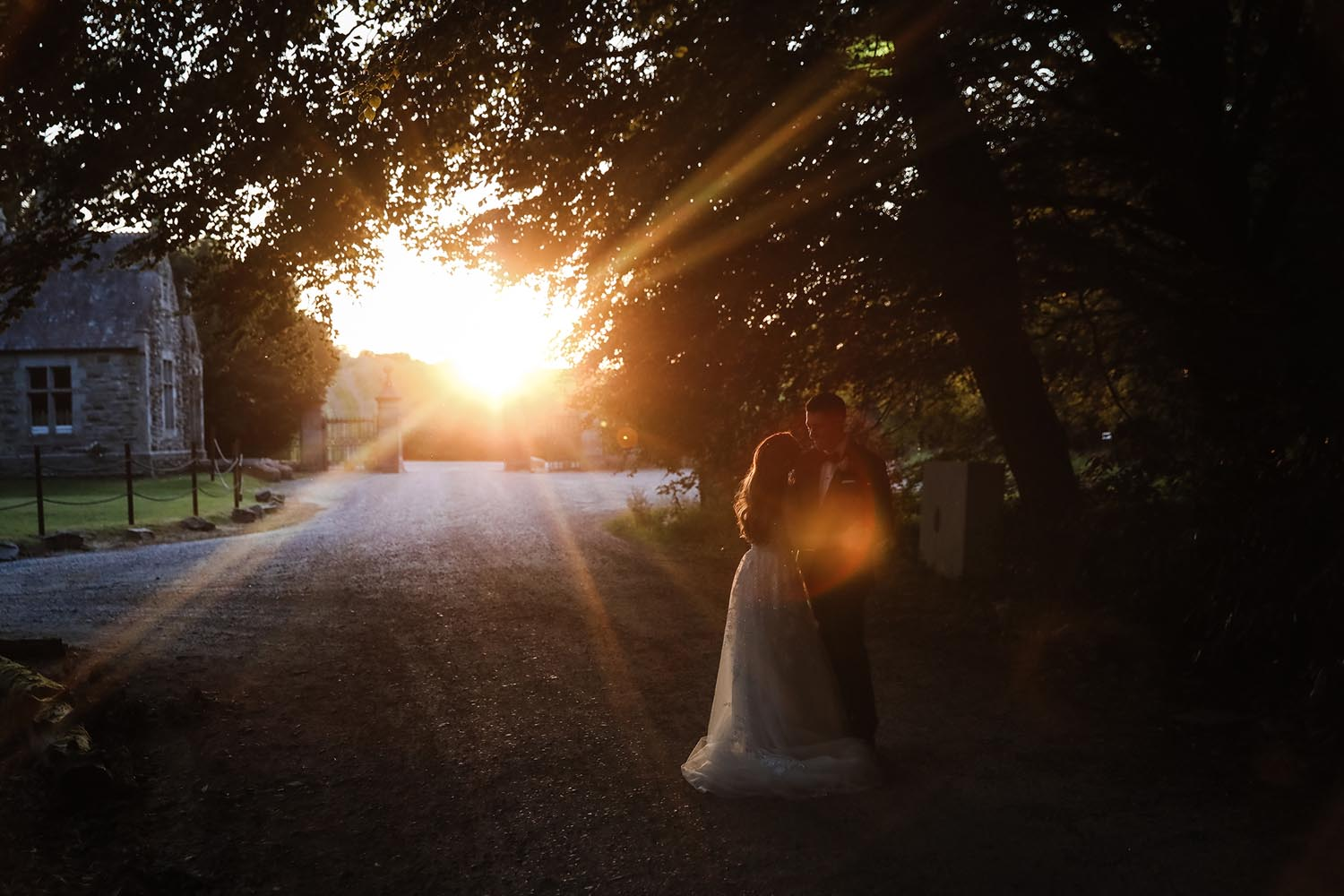 Couple at sunset at Castle Leslie Estate. Co. Monaghan