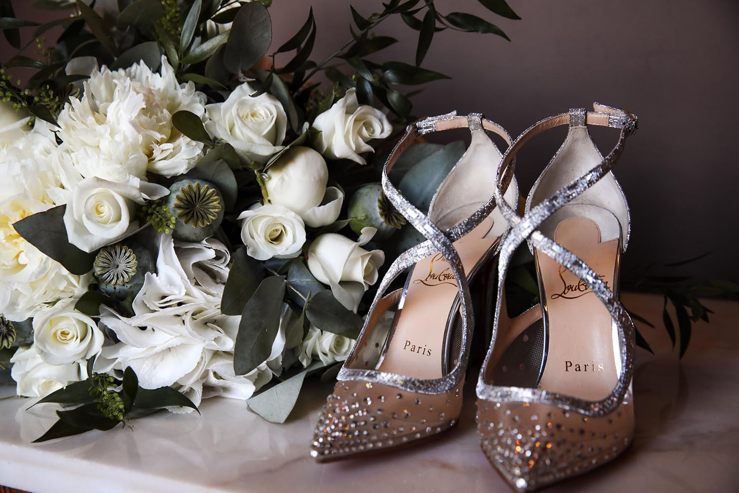 Close up of bride's wedding day shoes