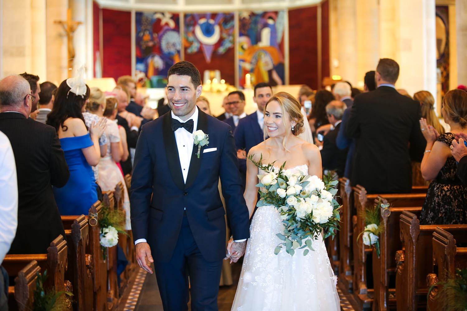 Bride and Groom walk down the aisle at St Macartan's Cathedral, Co. Monaghan