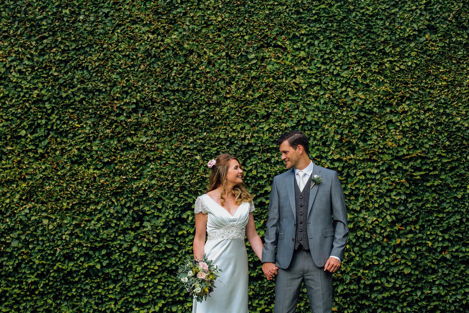 Couple photographed at Killruddery Estate on their wedding day