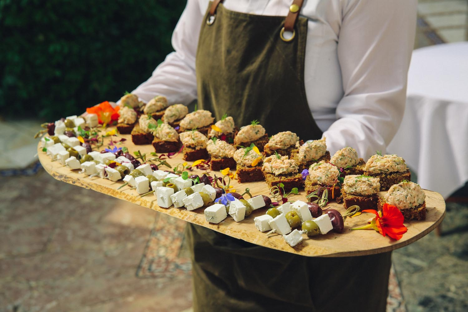 Canapes being served at a wedding