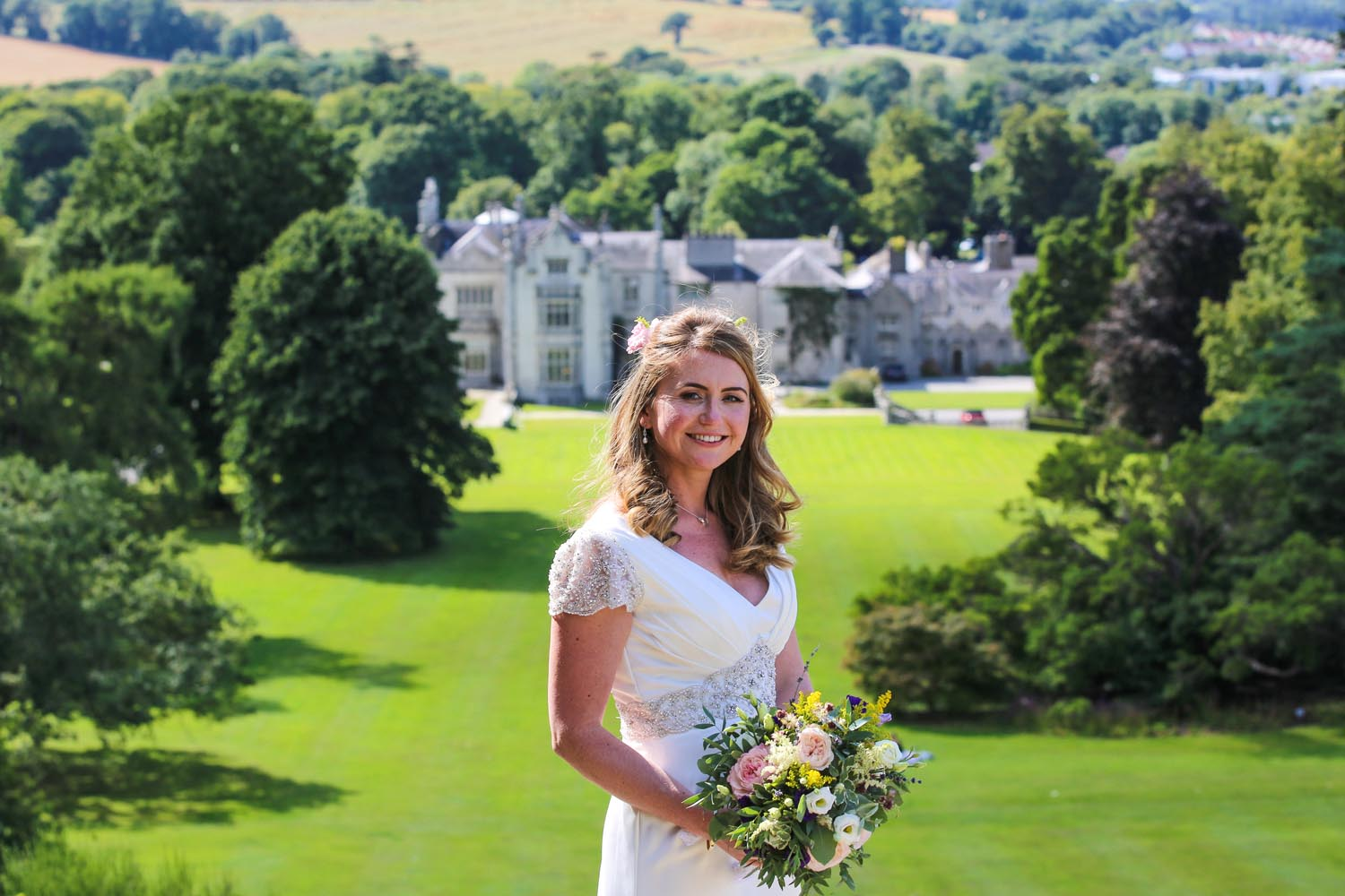 Bride with Killruddery House in the background