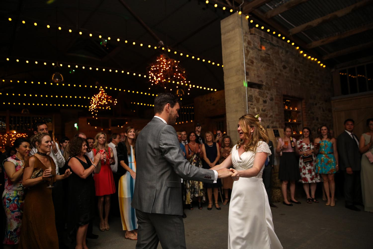 Couple enjoying their first dance in the Grain Store