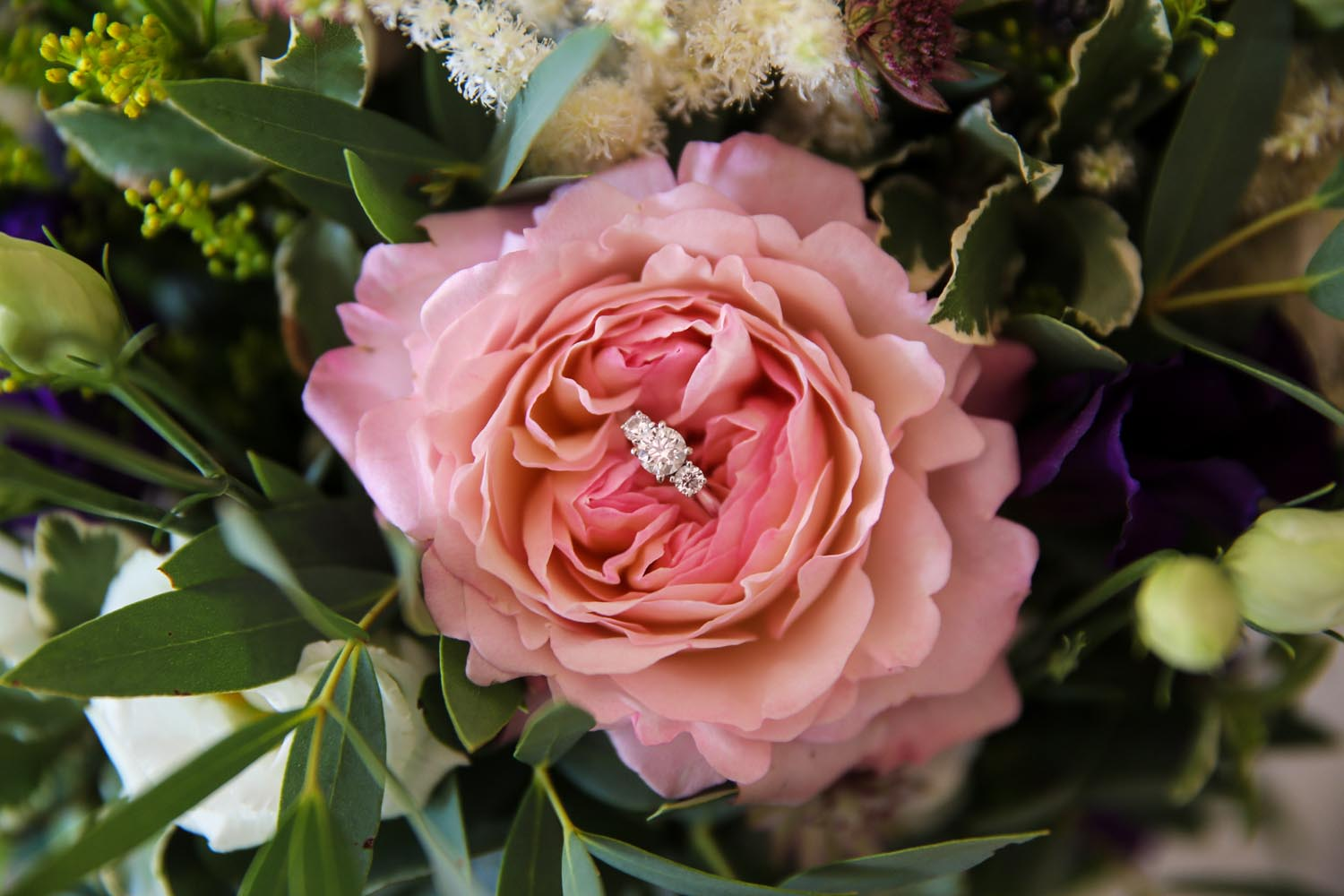 Engagement ring and flower detail