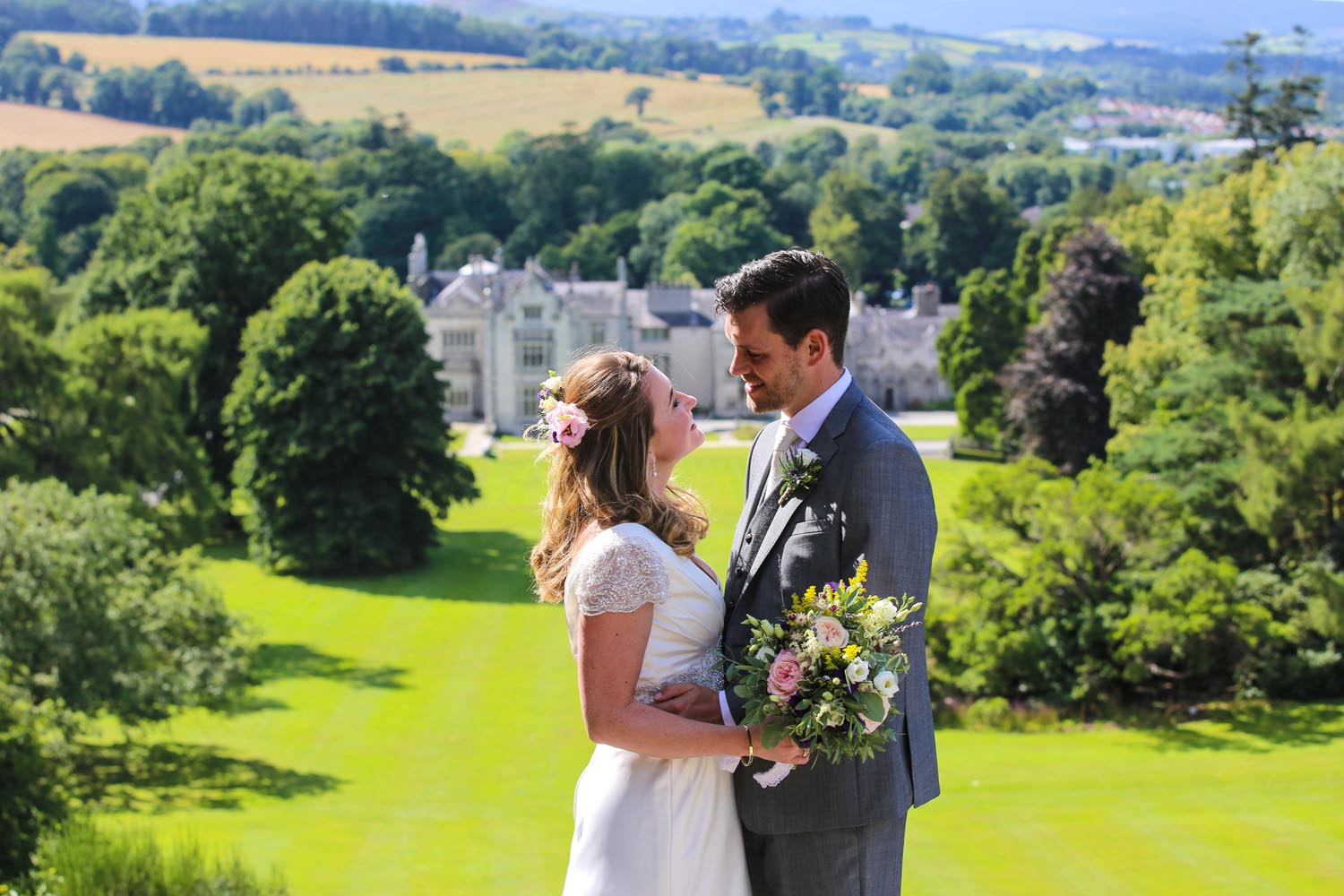 Bride and Groom photographed above Killruddery House