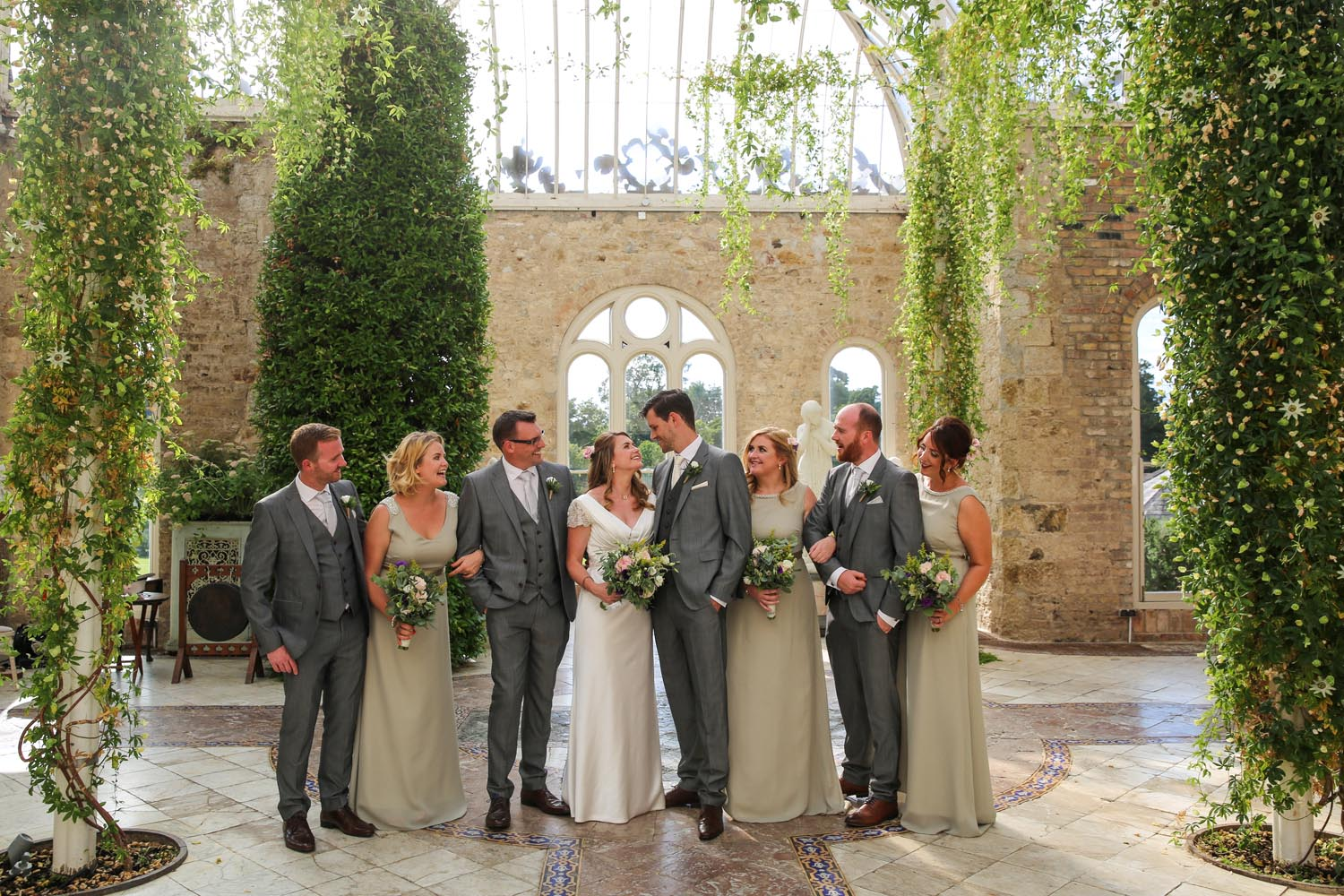 Photos of the wedding party in The Orangery, Killruddery House