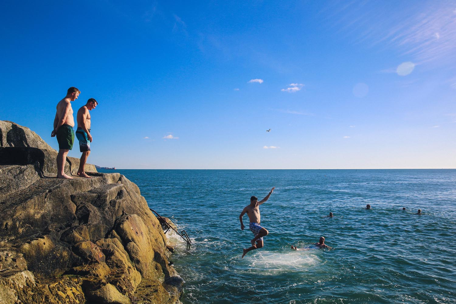 Jumping into the water at The Forty Foot