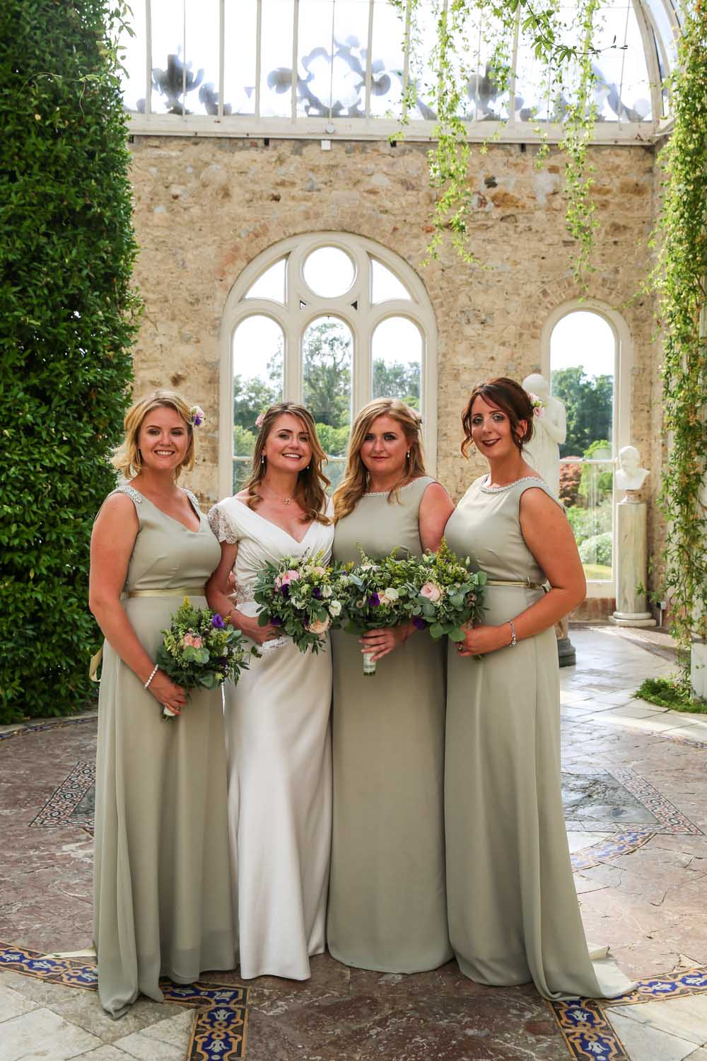 Bridesmaids photographed at Killruddery House, Co. Wicklow