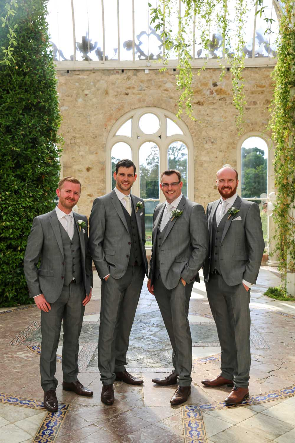 Groomsmen photographed at Killruddery House