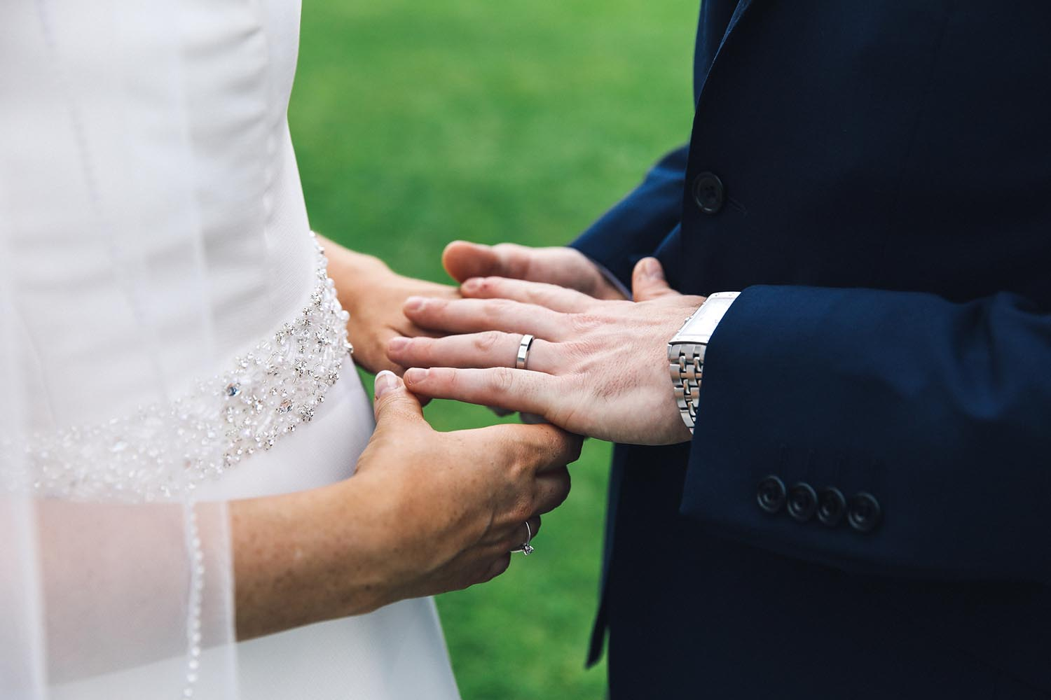 Close up Bride and Groom's hands