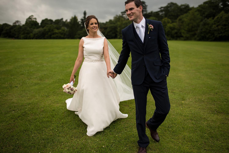 Enjoying a walk on their wedding day