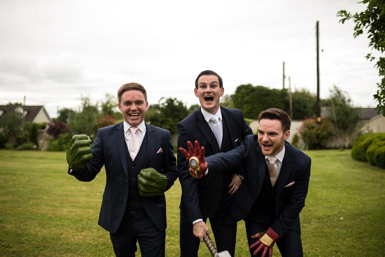 Groomsmen having fun the morning of a wedding