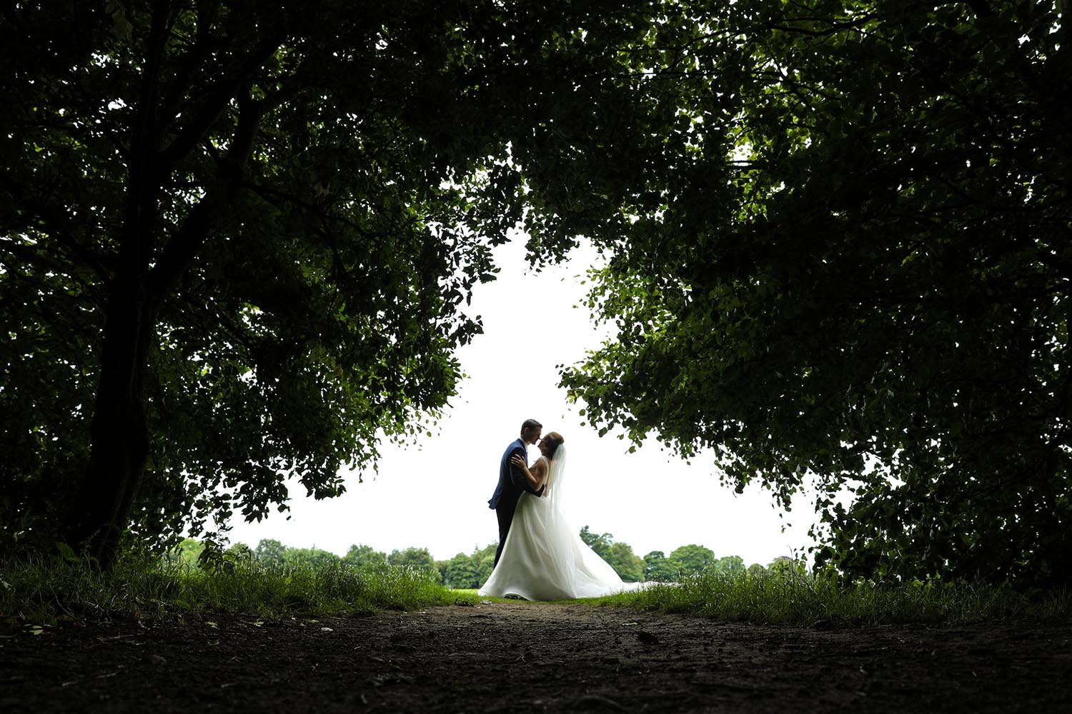A married couple pictured under a tree