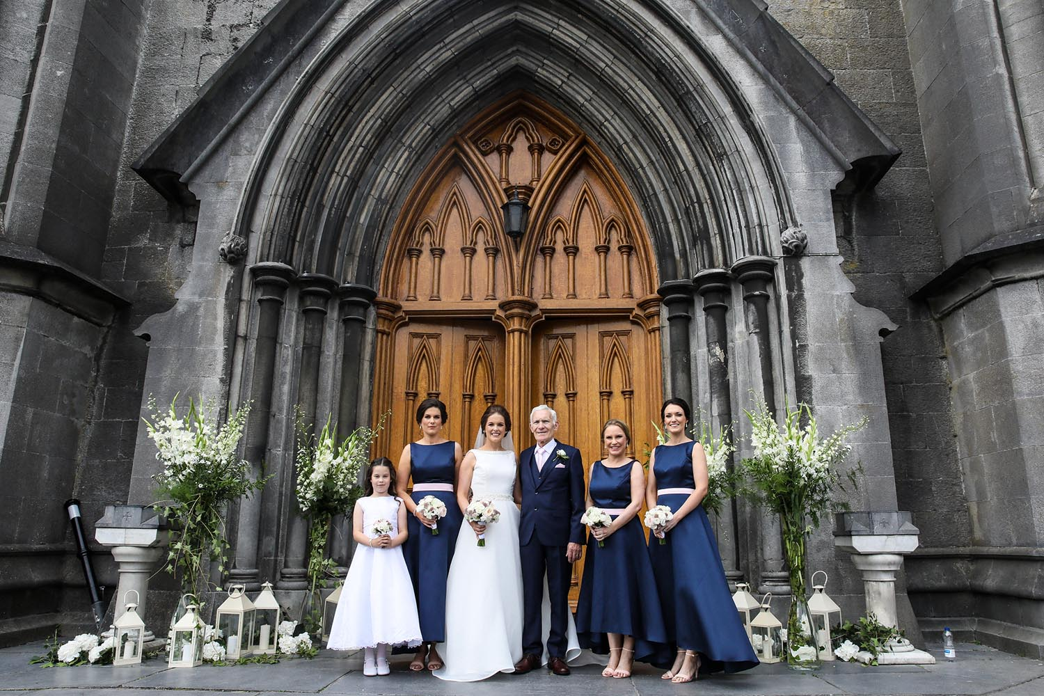 Bridal party outside Kilkenny Cathedral