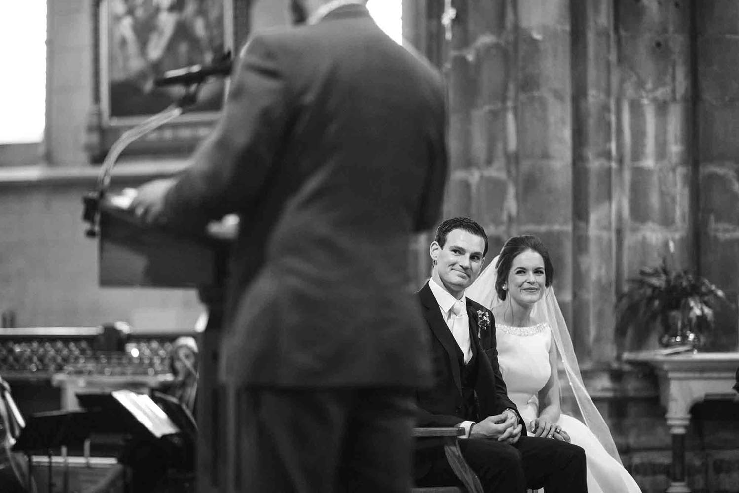 Bride and Groom seated in Kilkenny Cathedral