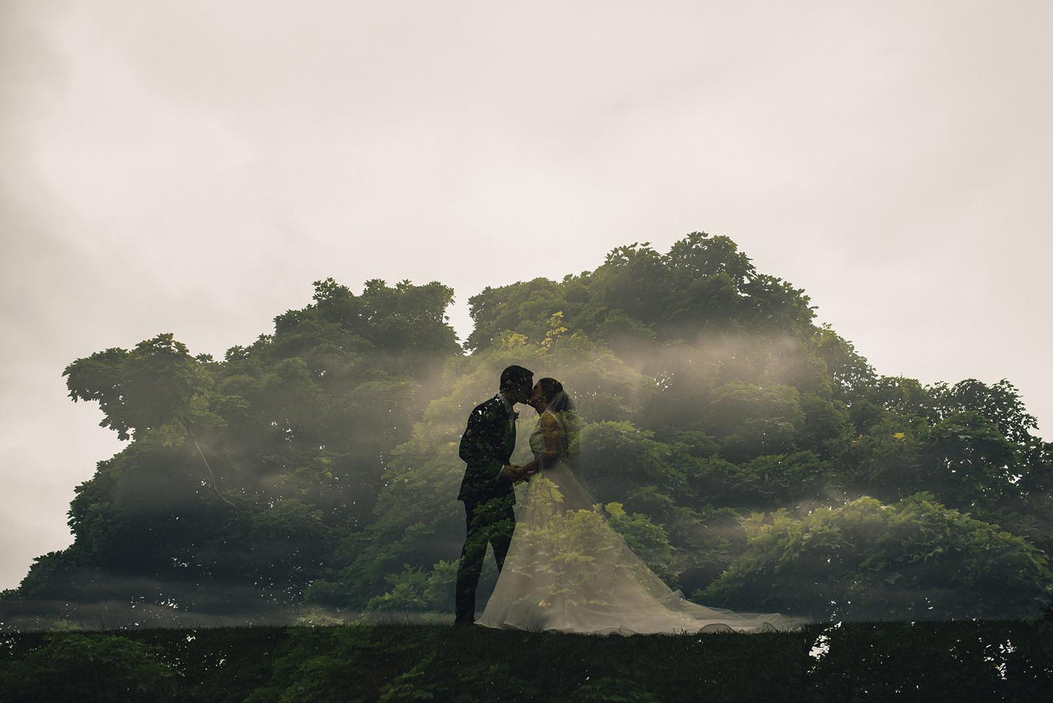 Newley married couple silhouetted against a tree
