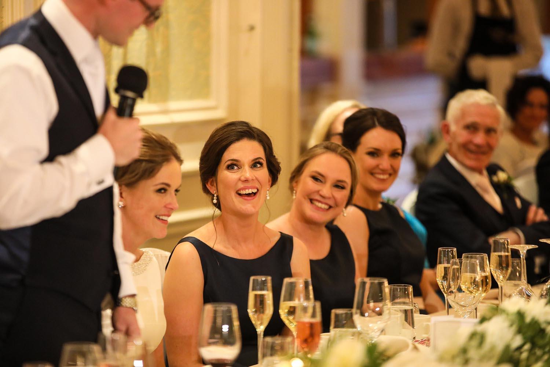 Smiles during wedding speeches