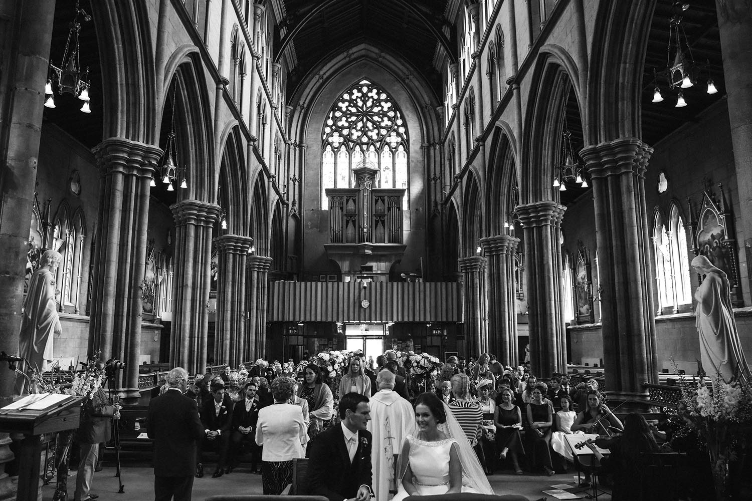 Wide interior shot of Kilkenny Cathedral during a wedding