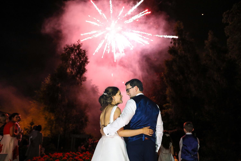 Bride and Groom enjoying fireworks