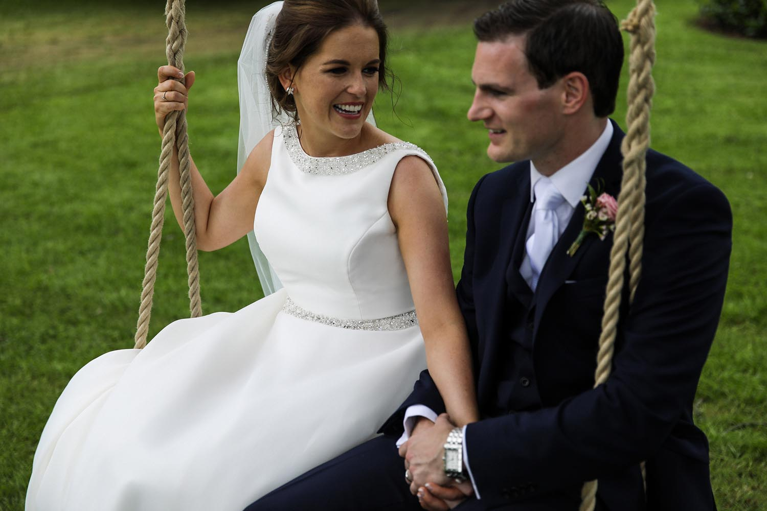 Married couple enjoying the swing at the Newpark Hotel Kilkenny