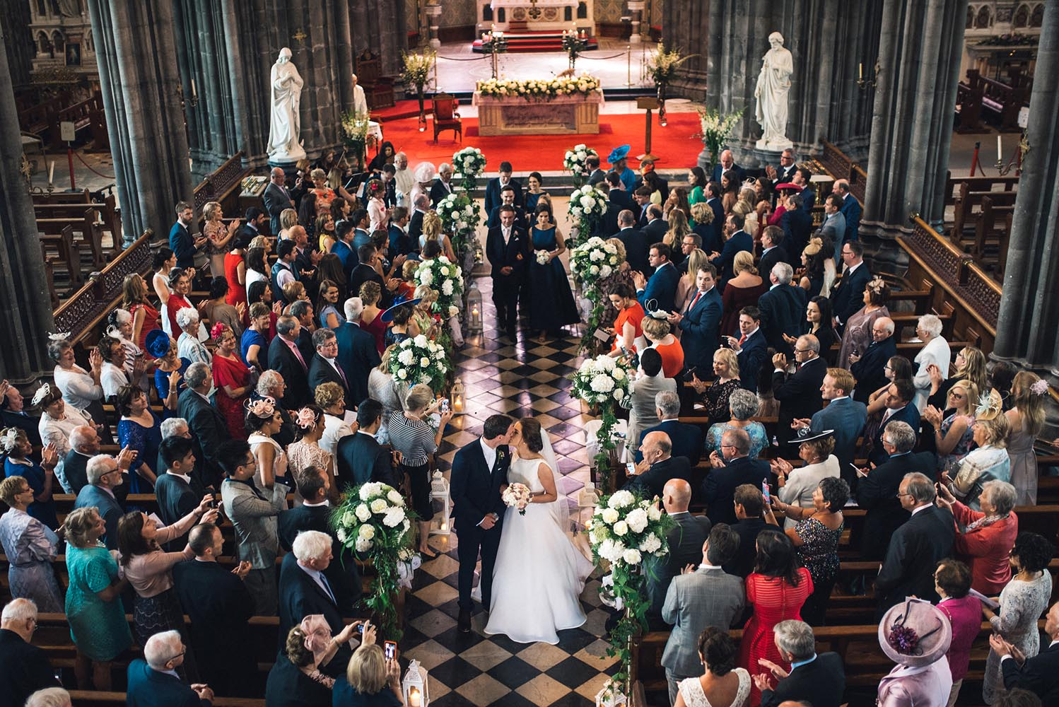 Bride and groom kiss after they are married in St Mary's Cathedral in Kilkenny city